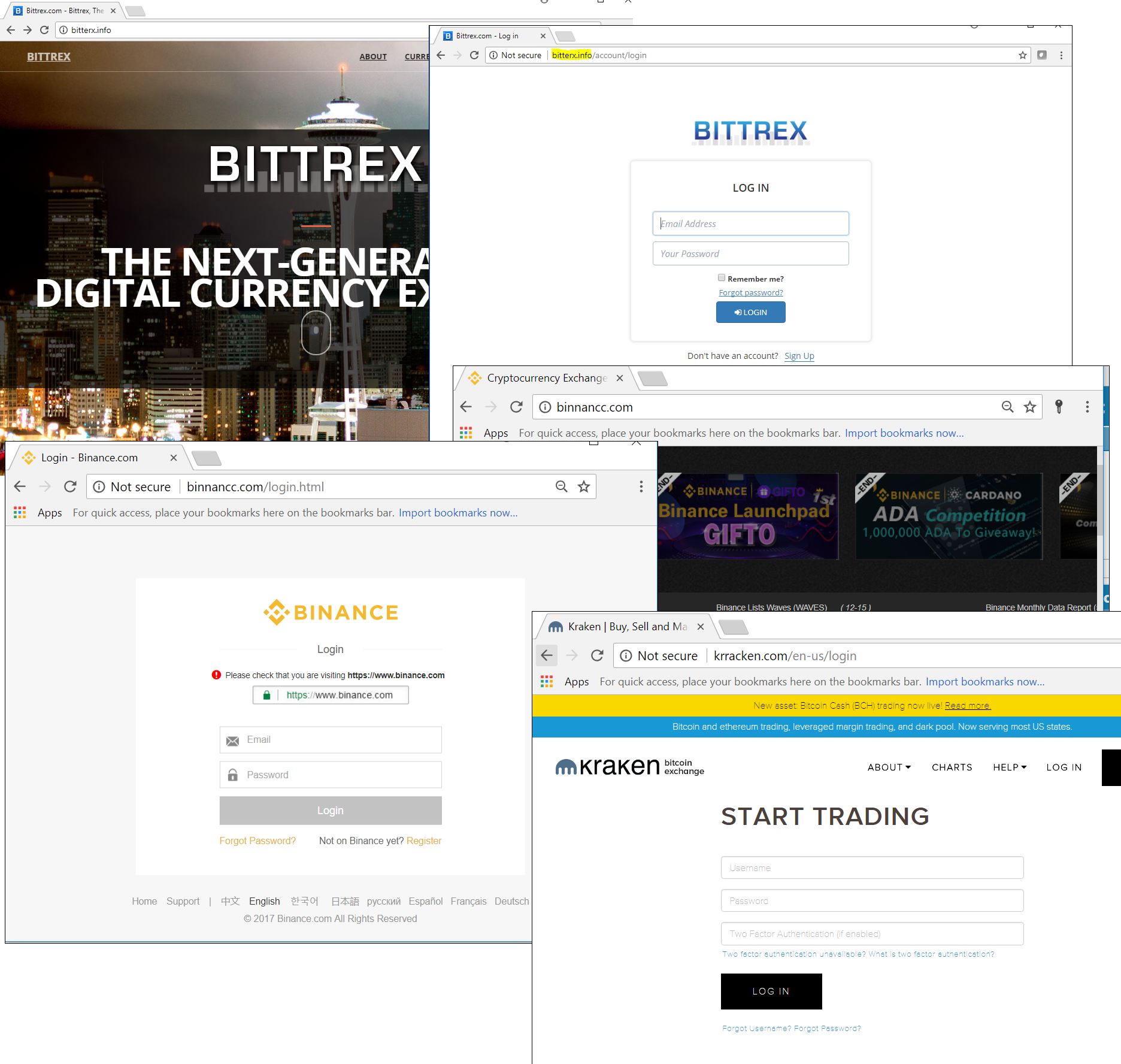 Examples of phishing pages imitating the authorization pages of popular crypto exchanges